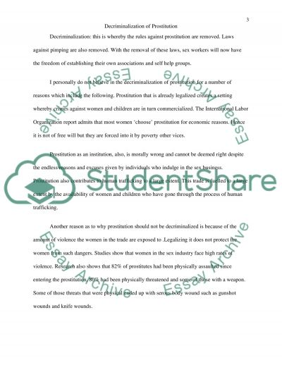 Decriminalization of Prostitution essay example
