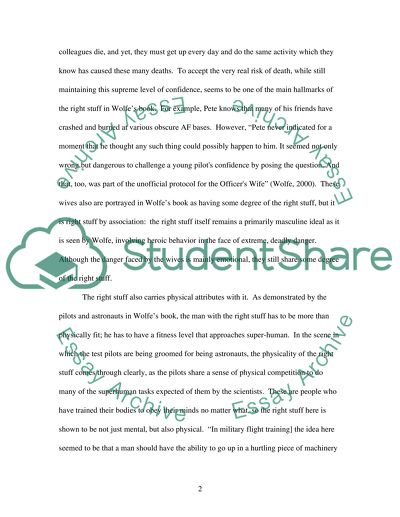 definition essay on the book the right stuff
