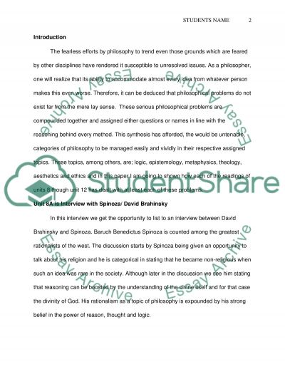 Problems of philosophy essay example