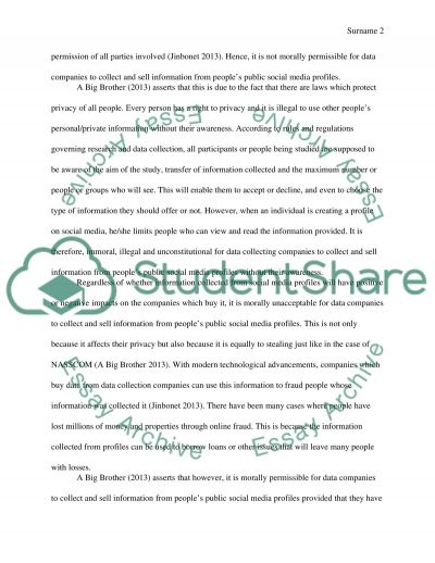 Data collection are concerned that this practice violates the privacy of individuals essay example