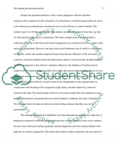 DEVELOPING PROFESSIONAL PRACTICE essay example