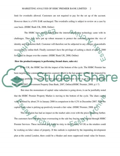 Marketing Analysis of HSBC Premier Services essay example