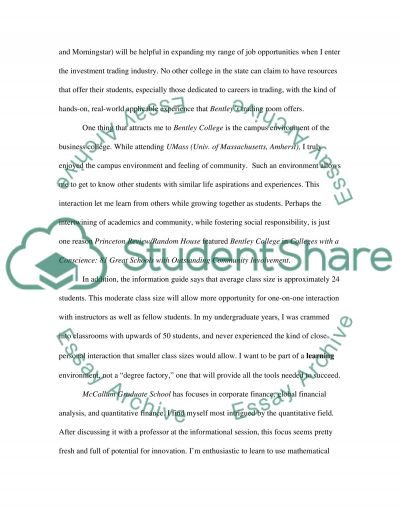 Master in Finance essay essay example