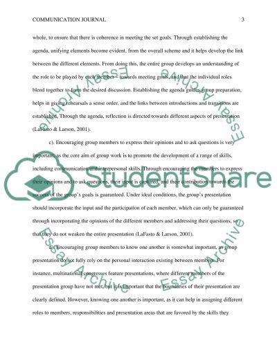 Communication journal essay example