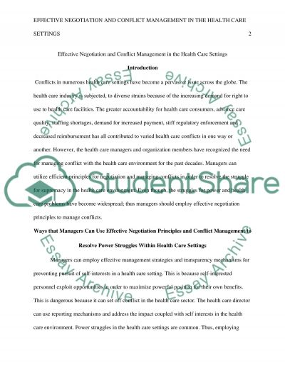 effective negotiation and conflict management in the health care essay effective negotiation and conflict management in the health care settings essay example