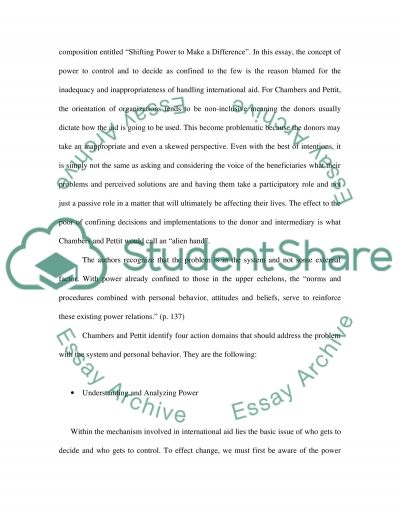 Shifting Power to Make a Difference essay example