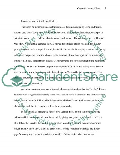 Businesses are not Behaving Ethically essay example