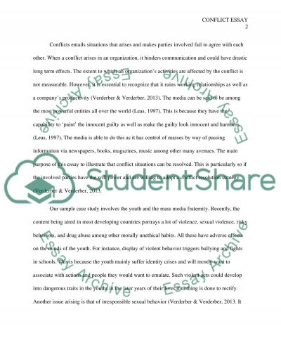 Conflict management strategies essay example