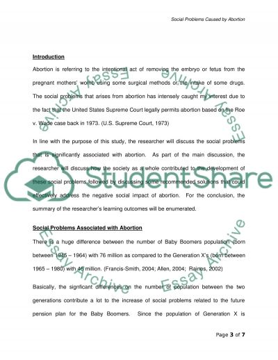 Social Problems Caused by Abortion essay example