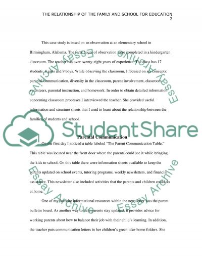 Home and School Relationship essay example