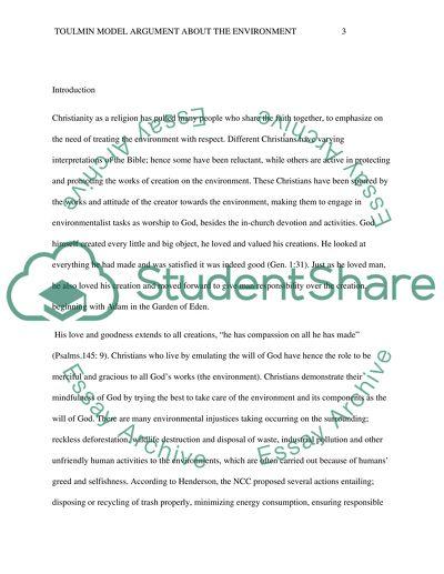 Toulmin model argument about the environment essay