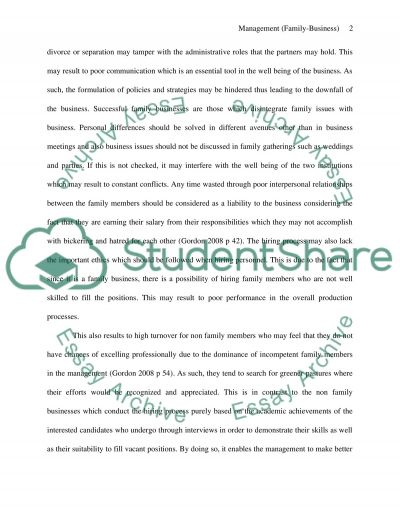 Management (family-business) essay example