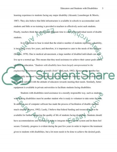 Position Paper: Are General Educators Attitudes Improving Toward the Inclusion of Students with Disabilities essay example