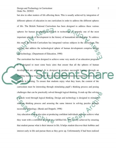 Design and Technology of Curriculum Essay example