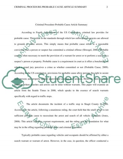 Criminal Procedure-Probable Cause Article Summar essay example
