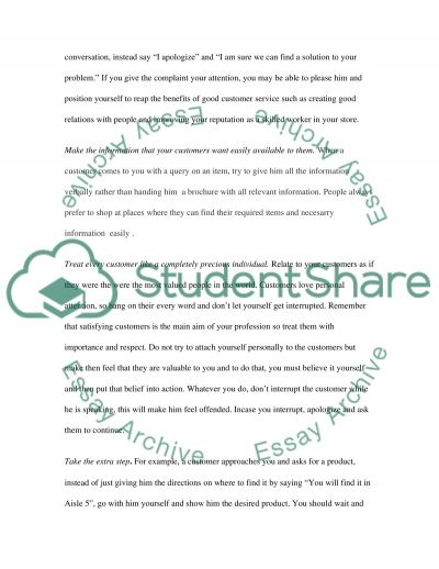 Essentials for good customer service essay example