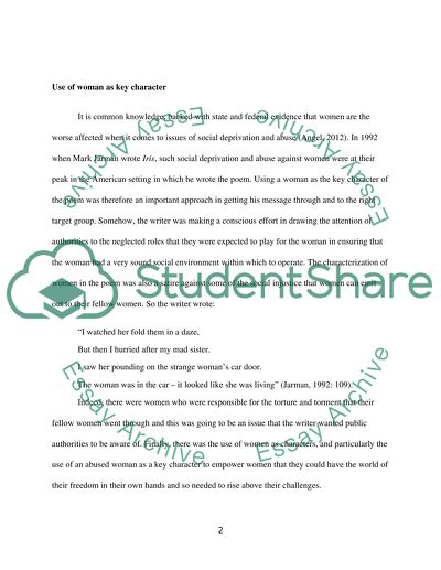 Argumentative Essay Sample High School Narrative Poem Analysis Social Issues And Contexts Of Iris How To Write A High School Essay also Health Essay Narrative Poem Analysis Social Issues And Contexts Of Iris Essay Descriptive Essay Thesis