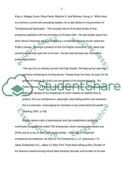 T.D. Jakes: English Research Paper