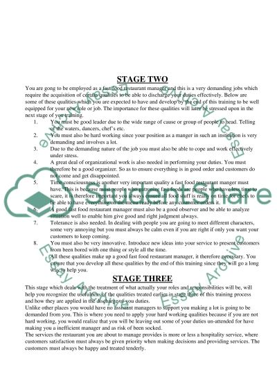 Training program essay example