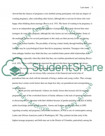 Research paper: teenage pregnancy