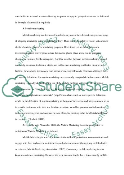 The use of Mobile Phones in Marketing essay example