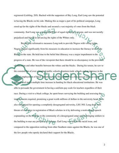 Earl of Louisiana essay example