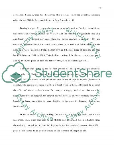 Oil Embargo: Its Effects on the Price, Supply and Demand of Oil in the US essay example