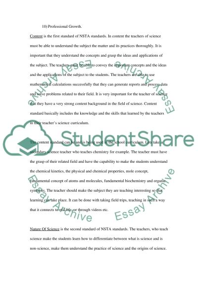 National Science Teachers Association Standards Essay example