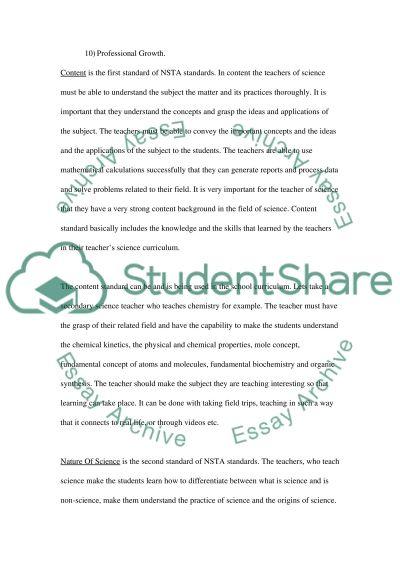 National Science Teachers Association Standards essay example