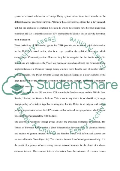 European Foreign Policy essay example