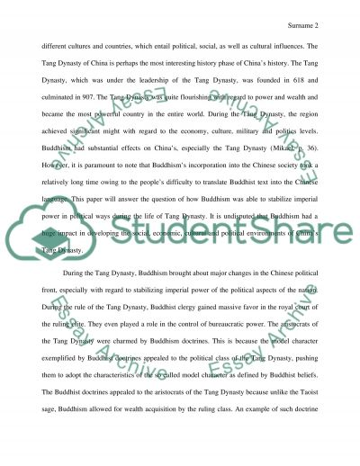 Buddhism in Tang Dynasty essay example