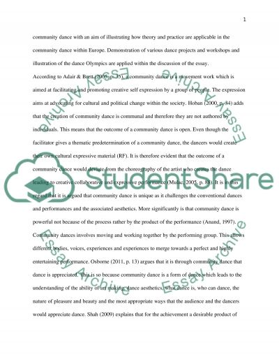 Community Dance: Theory and Practice essay example