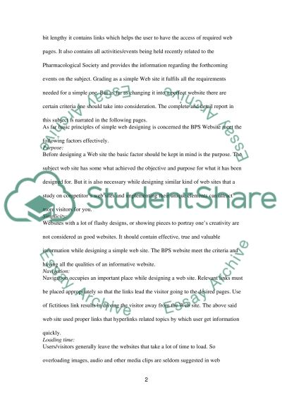 BPS Web site: At a Glance essay example