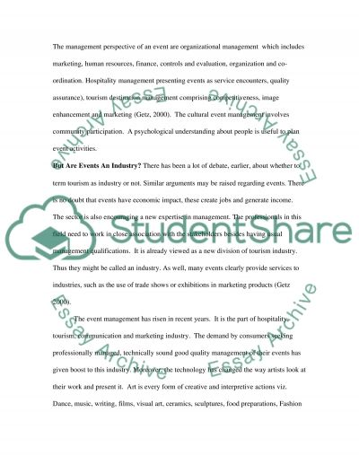 Culture and Event Management essay example
