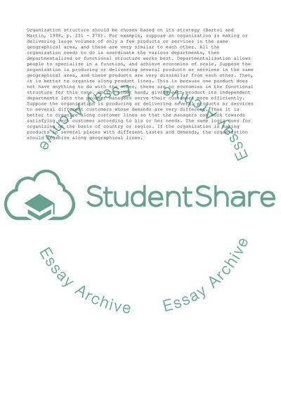 Organizational Structure Master Essay