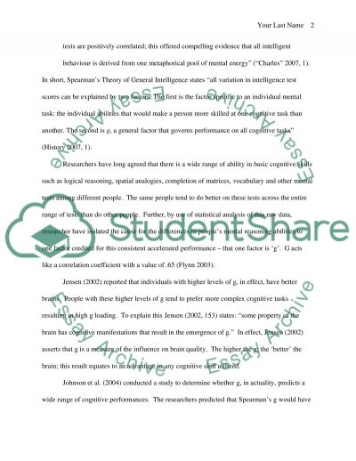 Intelligence and the Concept of G essay example