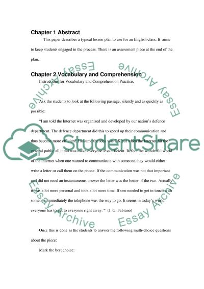 Lesson Plan Essay essay example