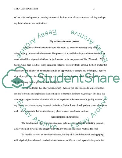 Self Development Essay Example  Topics And Well Written Essays  Self Development  Essay Example Purpose Of Thesis Statement In An Essay also Essays Papers  Essay Examples For High School Students
