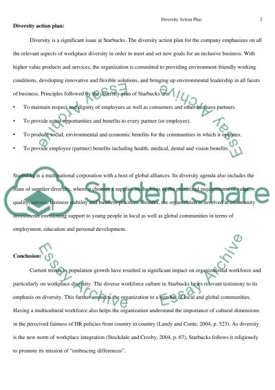Diversity Action Plan essay example