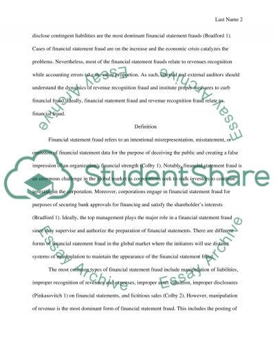 Financial Statement fraud and Revenue recognition fraud essay example