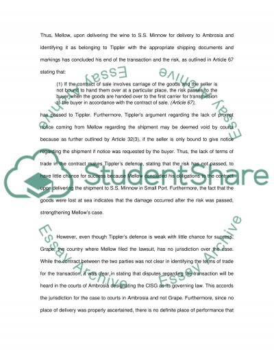 International Business Law College Essay essay example