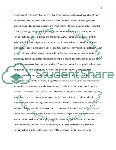 Communication Theory Essay