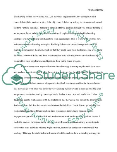 Academic Success in a K-12 classroom essay example