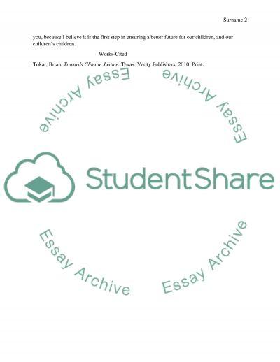 Persuasive Letter essay example