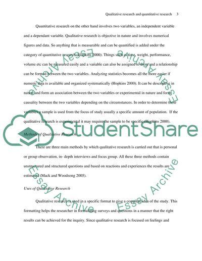 Quantitative research essay