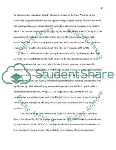 Although Consideration Is Often Referred To As The Badge Of Essay