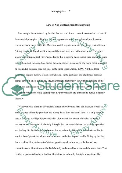 Law of Non Contradiction essay example