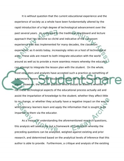 Does The Use of Technology Effects Young Literacy Learners, In A Positive Or Negative Way essay example