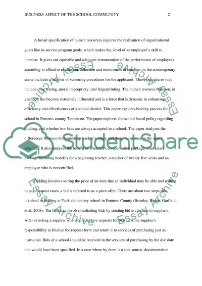 Business Aspects of the School Community & Human Resources and School Finance essay example