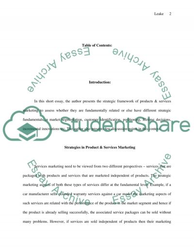 Service Marketing and Product Marketing essay example